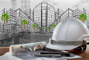 קסדה, משקפי בטיחות - אלרם גנרטורים - תמונת רקע בנושא אדריכלי
